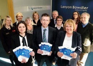 Sophie Davies, Neil Lorimer and Kay Kelly from Lanyon Bowdler with some of the speakers at the event.