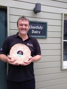 Dairy manager, Aled Rowlands, with the award-winning cheese.