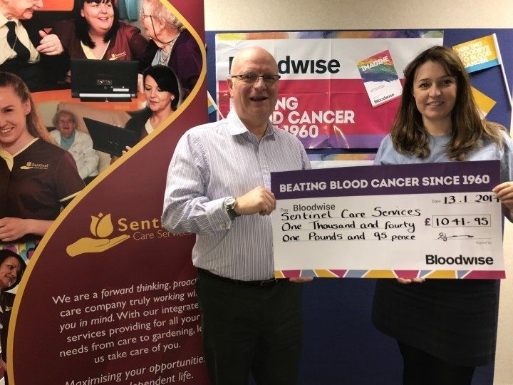Steve Harris, of Sentinel Care Services, and Emma Jane Jones of Bloodwise