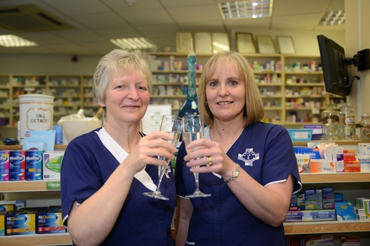 Mandy Price and Mary Lewis at Craven Arms pharmacy.