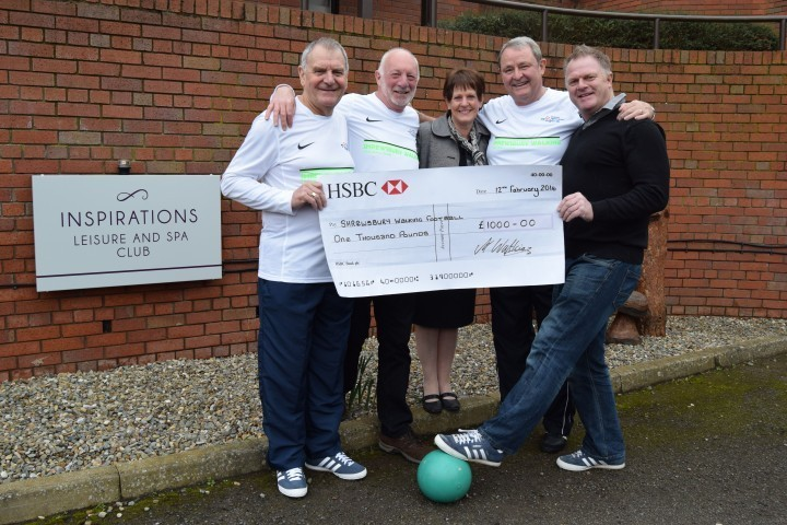 Walking football team members John Gregory, Graham Irish and Andy Morrell pictured with Andy Watkins, of Watkins Contractors, and Jennifer Sibbald-Wall, manager of the Mercure Shrewsbury Albrighton Hall Hotel and Spa.