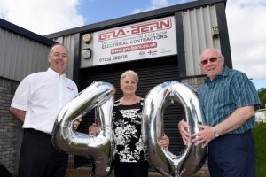 L-R Graham Brown with his wife Hilary, directors of Gra-Bern Electrical Ltd with Bernard Bowen, co-founding partner of Gra-Bern who recently retired.