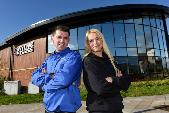 Duncan Richards, managing director of UK Tinting Solutions and manager of Anytime Fitness, Jenny Daniel outside the club.