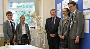 Mr Bell with Year 8 pupils (from left): Christian Beard, Imogen Jones, Imogen Morgan and Henry Jones