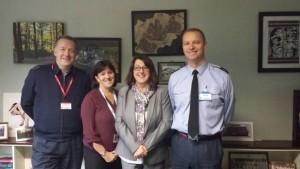 L to R- Wing Commander Neil Hope, Gail Moore (Community for RAF Shawbury), head teacher Liz Dakin & Group Captain Jason Appleton