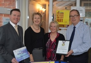 Rob Tolley, of sponsors Fluid Network Solutions with Dr Louise Houghton, Joy Baker, managing partner at Marden Medical Practice and Peter Masters, business manager at Caradoc Medical Services.