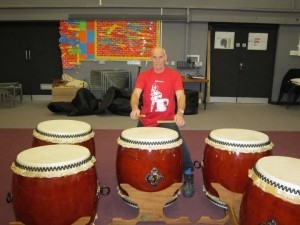 Martin Fischer with new Taiko drums