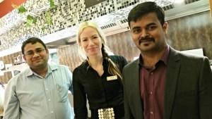 Head chef Raj Kumar, supervisor Julia Avilova and restaurant manager Bala Chandra.
