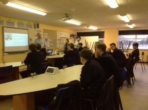 Paul Allman of Hawk speaks to Thomas Adams School pupils