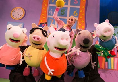 Peppa had a splashing time at Theatre Severn… and the two boys did too.
