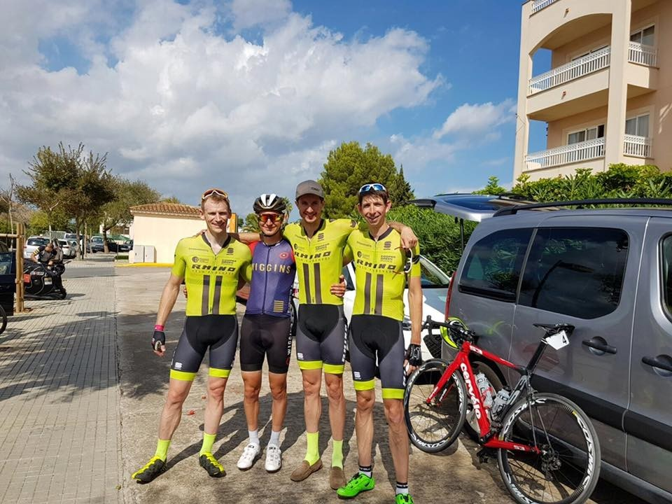 From left to right:  Matt Davies, Liam Holohan, a Pro for Team Wiggins, Chris Pook & Matthew Garthwaite after completing the Masters Tour of Majorca.