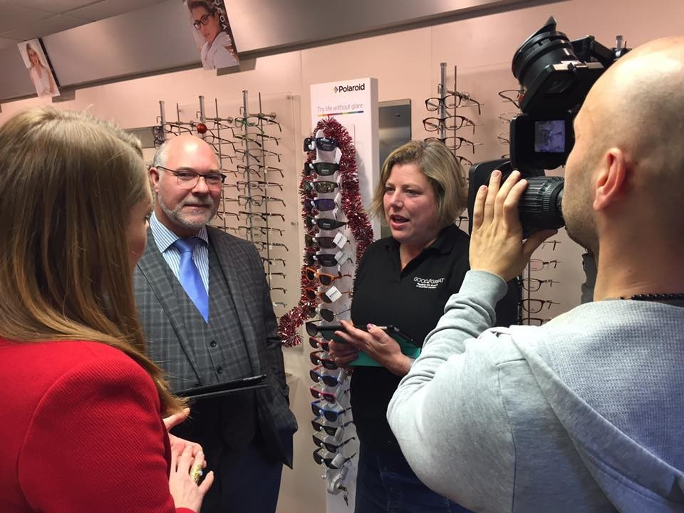 John Cooke of John Biddle Opticians in Madeley and Sally Themans of Good2Great being interviewed.