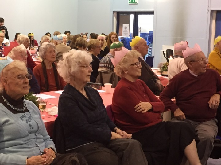 Seniors enjoy Christmas party put on by college students in Wem