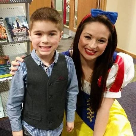 Archie Smallman, aged 4, meets Snow White at The Place in Oakengates, Telford.