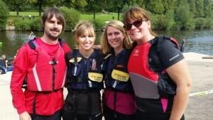 Team J&PR Simon Alton, Dani Wozencroft, Lorna McCann and Kirsty Smallman who took part in the World Championship Coracle Race to raise funds for Macmillan.