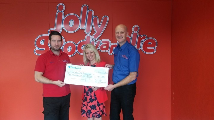 Jolly Good Van Hire with their cheque for midlands air ambulance