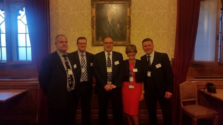Left to right: Peter Baker, Practice Supplies, Julian Barnes, Practice Supplies, Peter Masters, Caradoc, Anne Masters, Caradoc and Rob Tolley, Fluid Network Solutions.