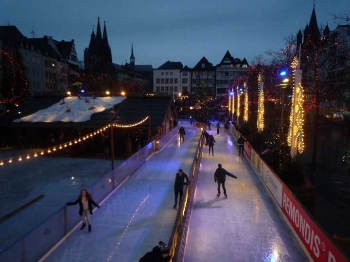 Thomas Adams School students ice skating in Cologne
