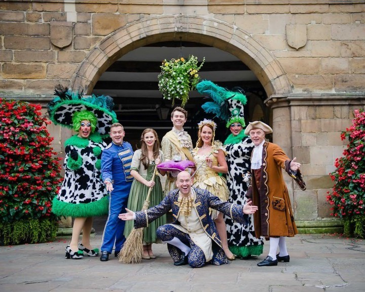 The cast of Theatre Severn's pantomime Cinderella hanging out in Shrewsbury
